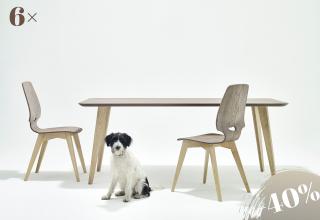 6×FINN szék-asztal kőris szürke