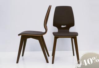 2× FINN upholstery chair black walnut - leather terra